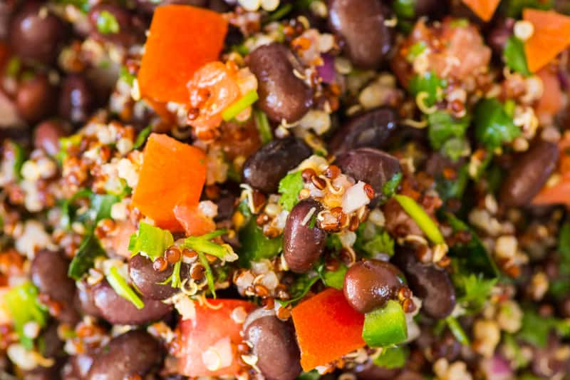 closeup quinoa and black bean salad