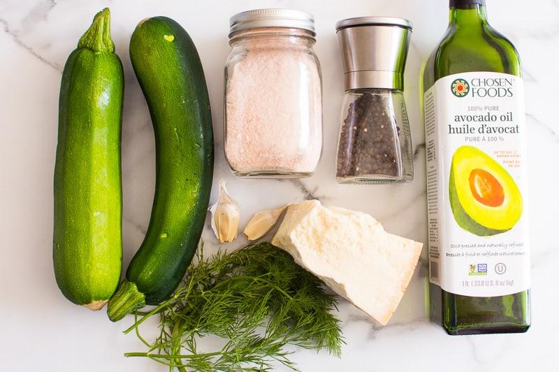 zucchini, cheese, garlic, oil, salt and pepper