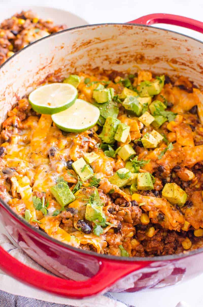 skillet enchiladas in a pot