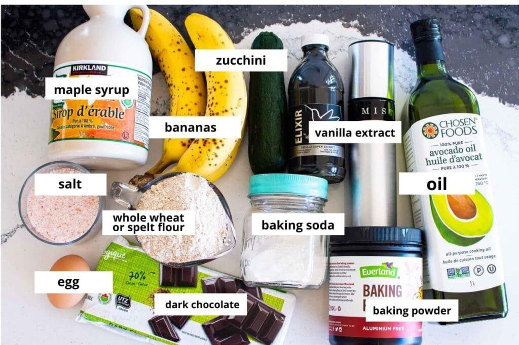 banana zucchini muffins ingredients