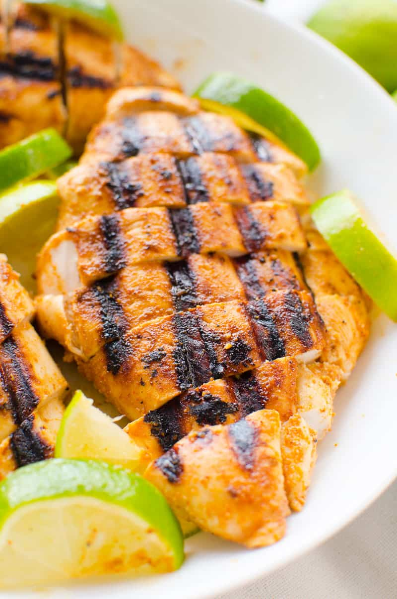 chili lime chicken sliced on a plate