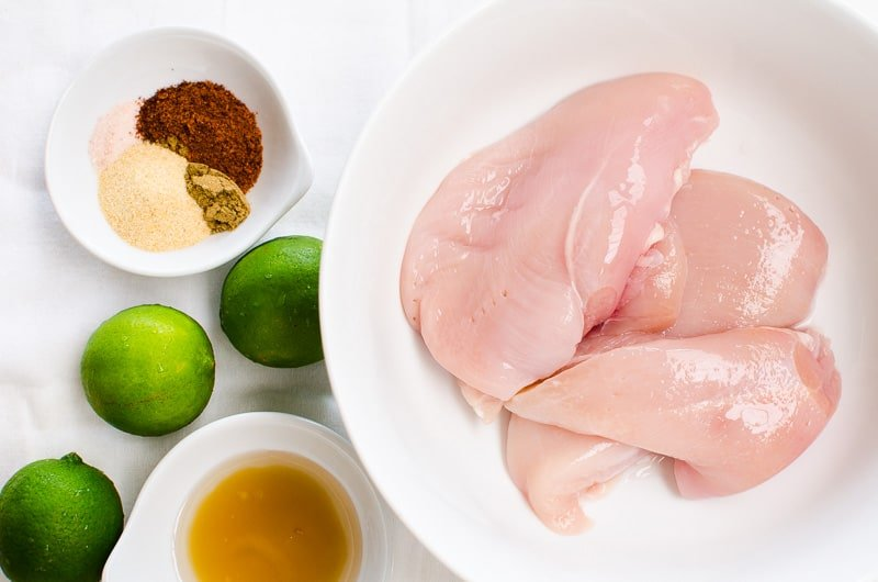 chicken breasts, spices, limes