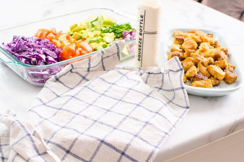 fish taco bar set up with linen towel