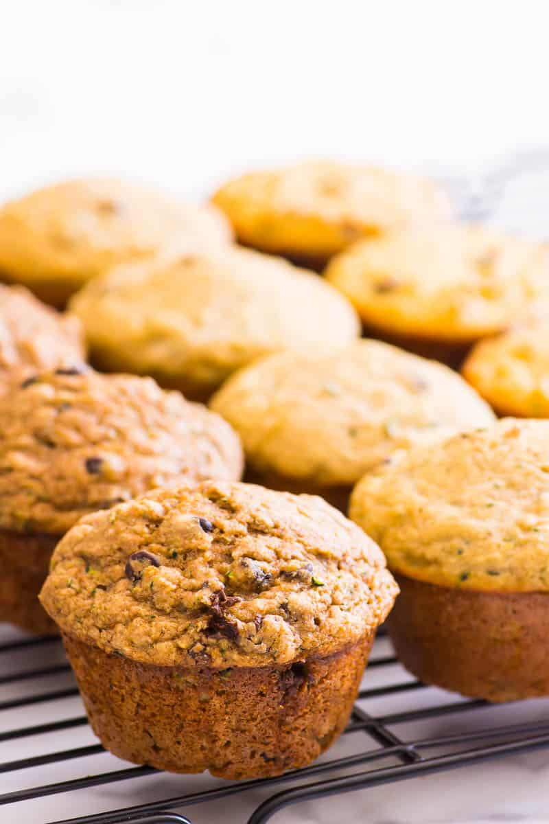 healthy zucchini muffins on a cooling rack