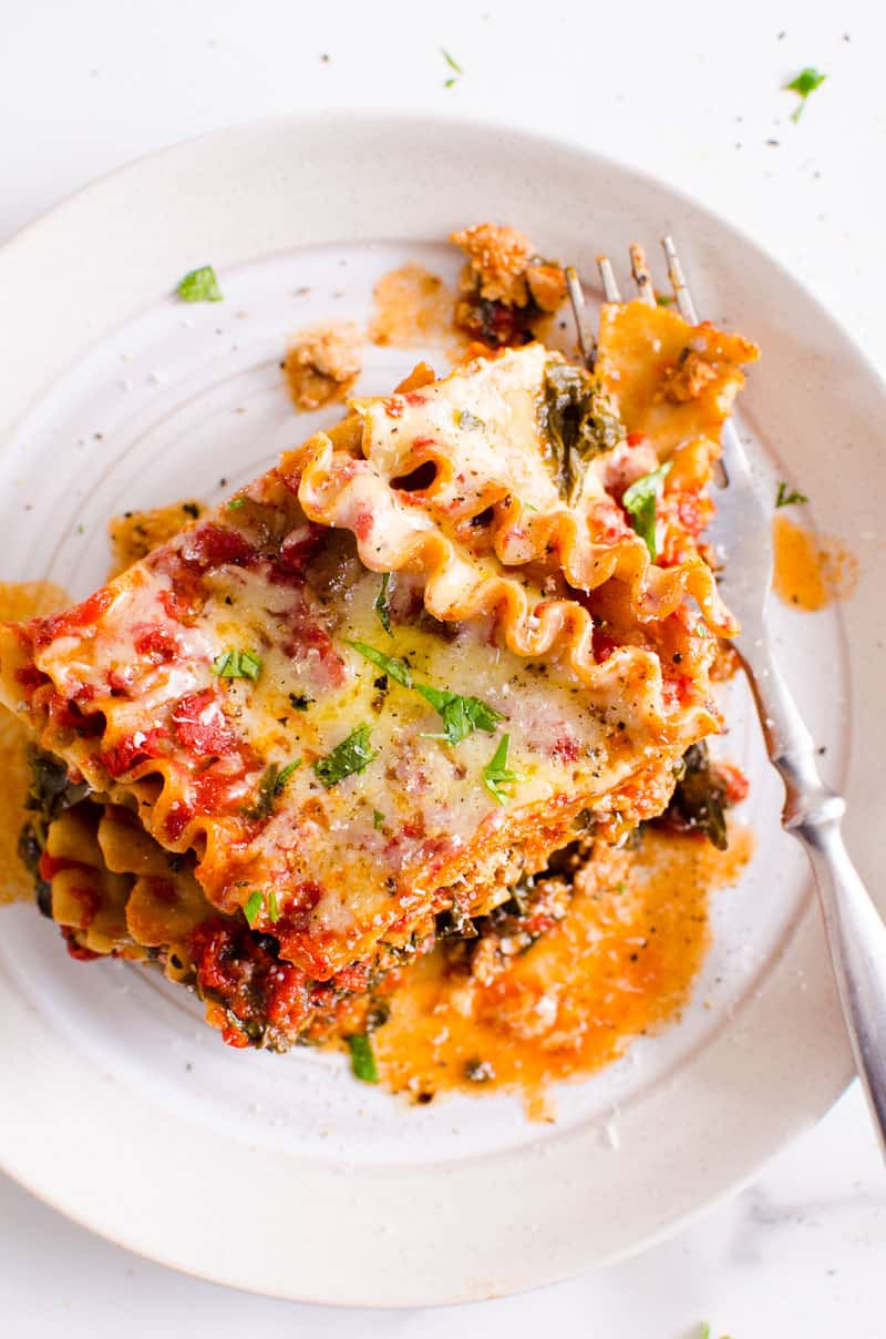 Instant Pot lasagna on a plate with a fork