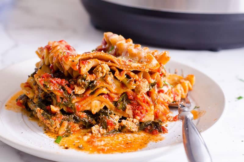Instant Pot lasagna on a plate