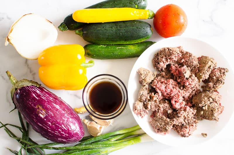eggplant, beef, zucchini, tomato, pepper and onion ingredients to make Korean Ground Beef