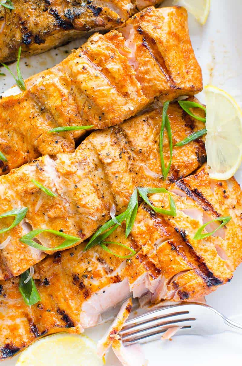 grilled salmon recipe flaked with a fork