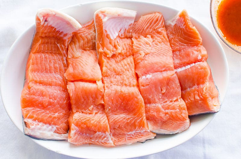 salmon slices on a platter