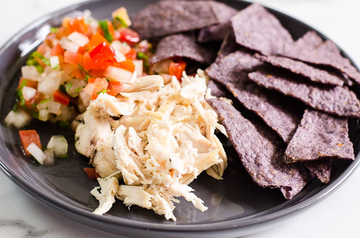 Instant Pot chicken breast, pico de gallo and tortilla chips
