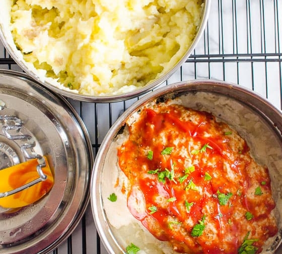 Instant Pot Meatloaf and Mashed Potatoes (Video)