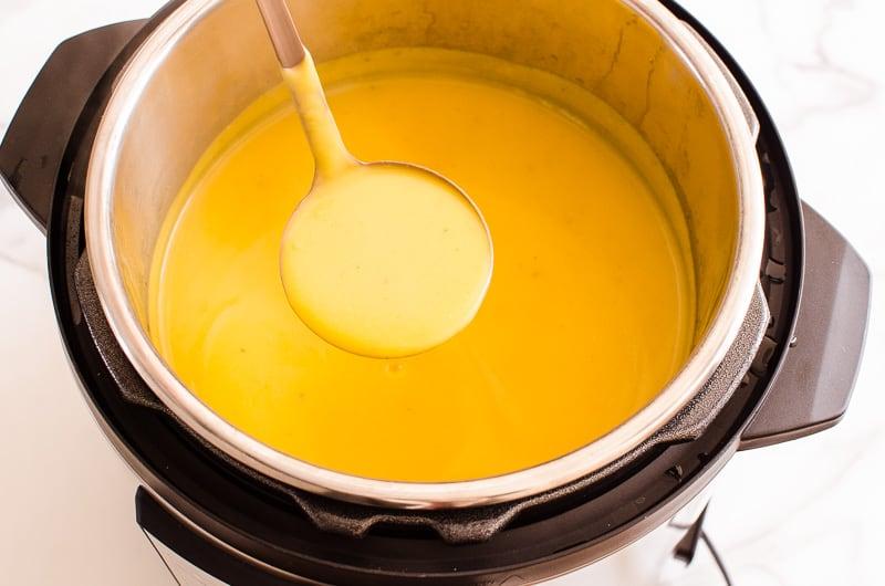 Instant Pot Butternut Squash Soup in a ladle