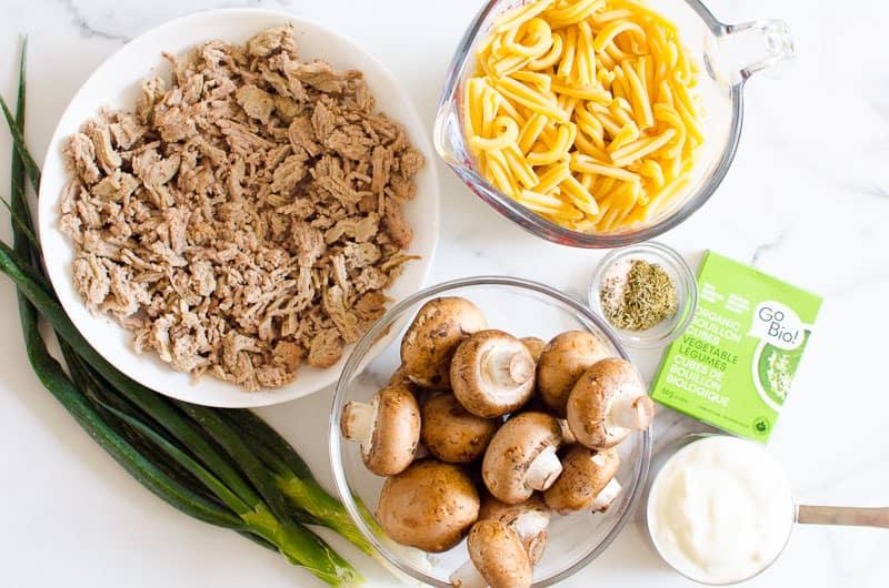 ground beef, mushrooms, onion, pasta, yogurt, spices