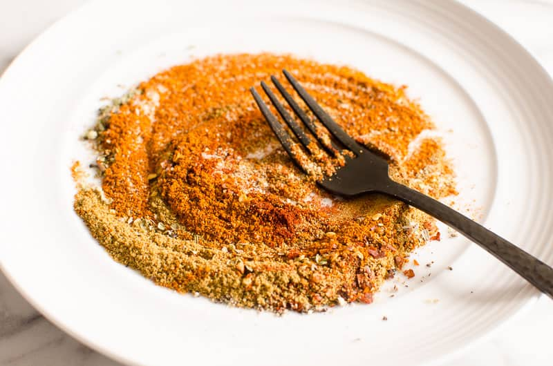 how to make healthy taco seasoning on a plate with a fork