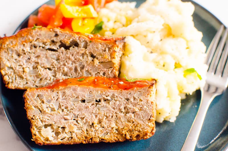 ground turkey meatloaf served with mashed potatoes