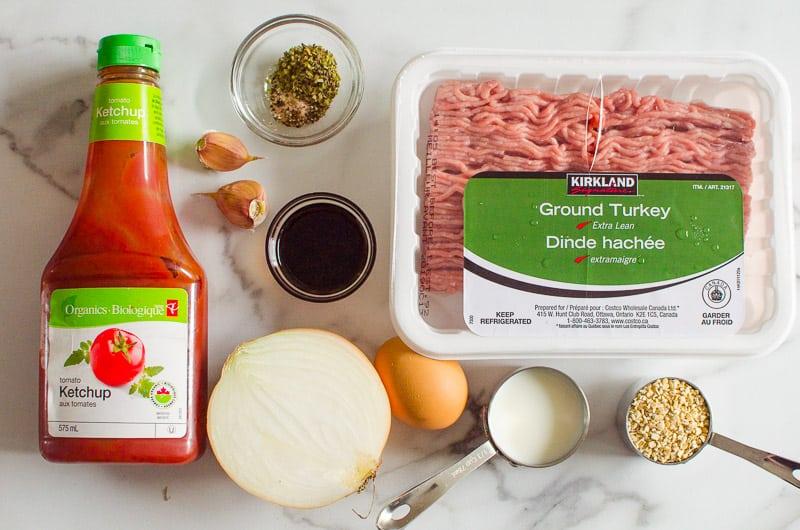 ground turkey, onion, egg, oats, garlic, ketchup, balsamic vinegar, seasonings