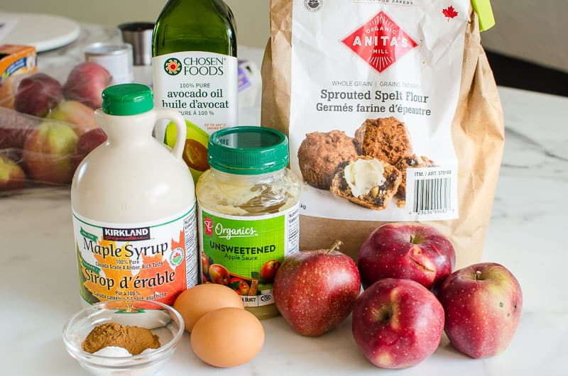 apples, applesauce, maple syrup, flour, eggs, spices