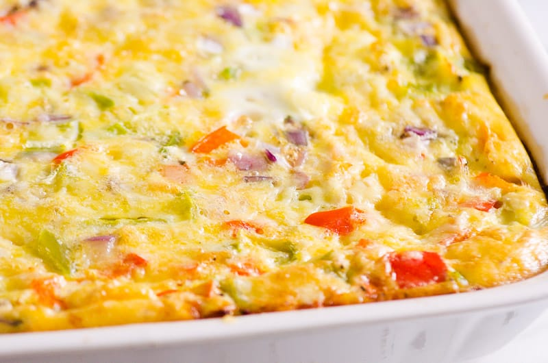 healthy breakfast casserole with bell peppers and cheese