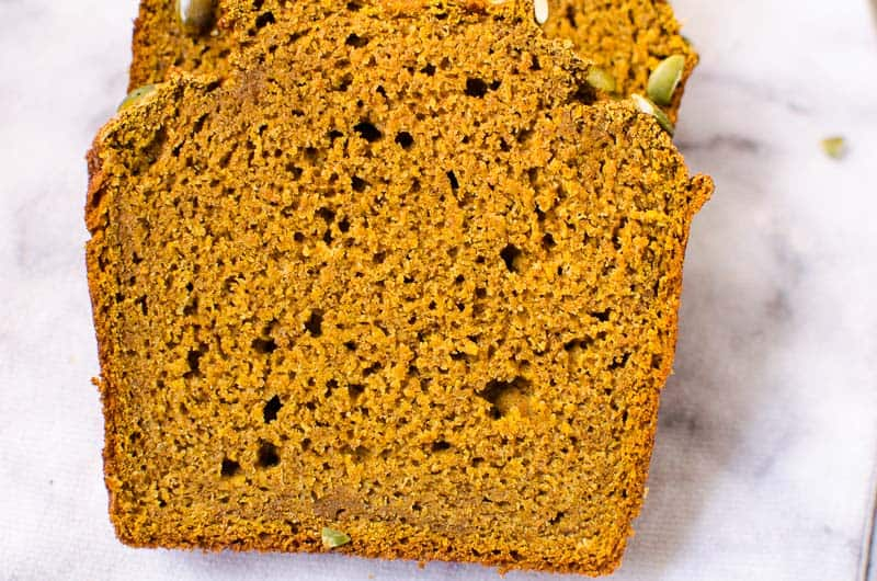 healthy pumpkin bread slices