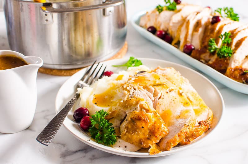 Instant Pot Turkey Breast with mashed potatoes and gravy