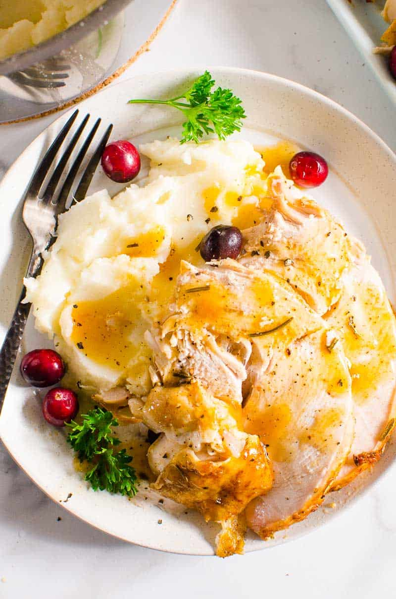 Instant Pot Turkey Breast served with mashed potatoes and gravy