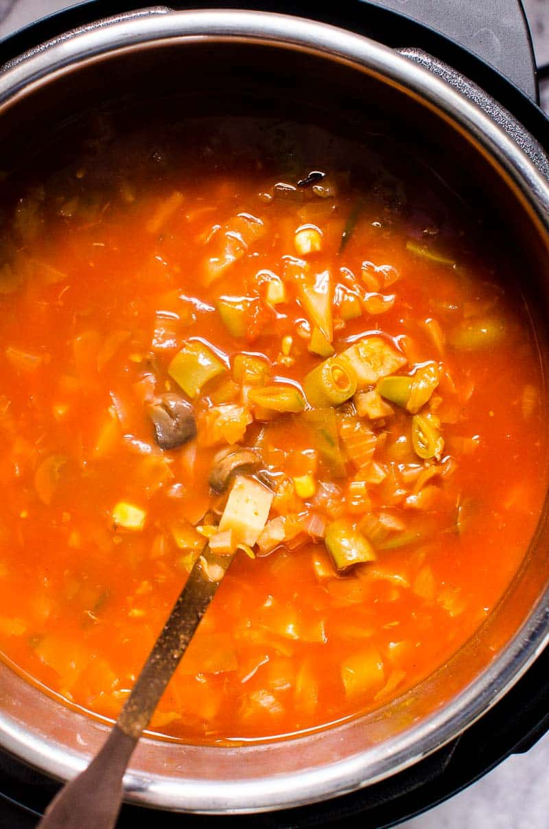 Instant Pot Vegetable Soup with a ladle