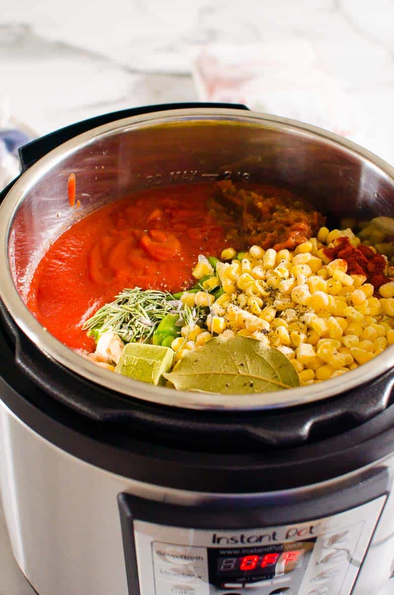 Instant Pot Vegetable Soup ingredients inside the pressure cooker