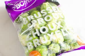 bag with fresh brussels sprouts