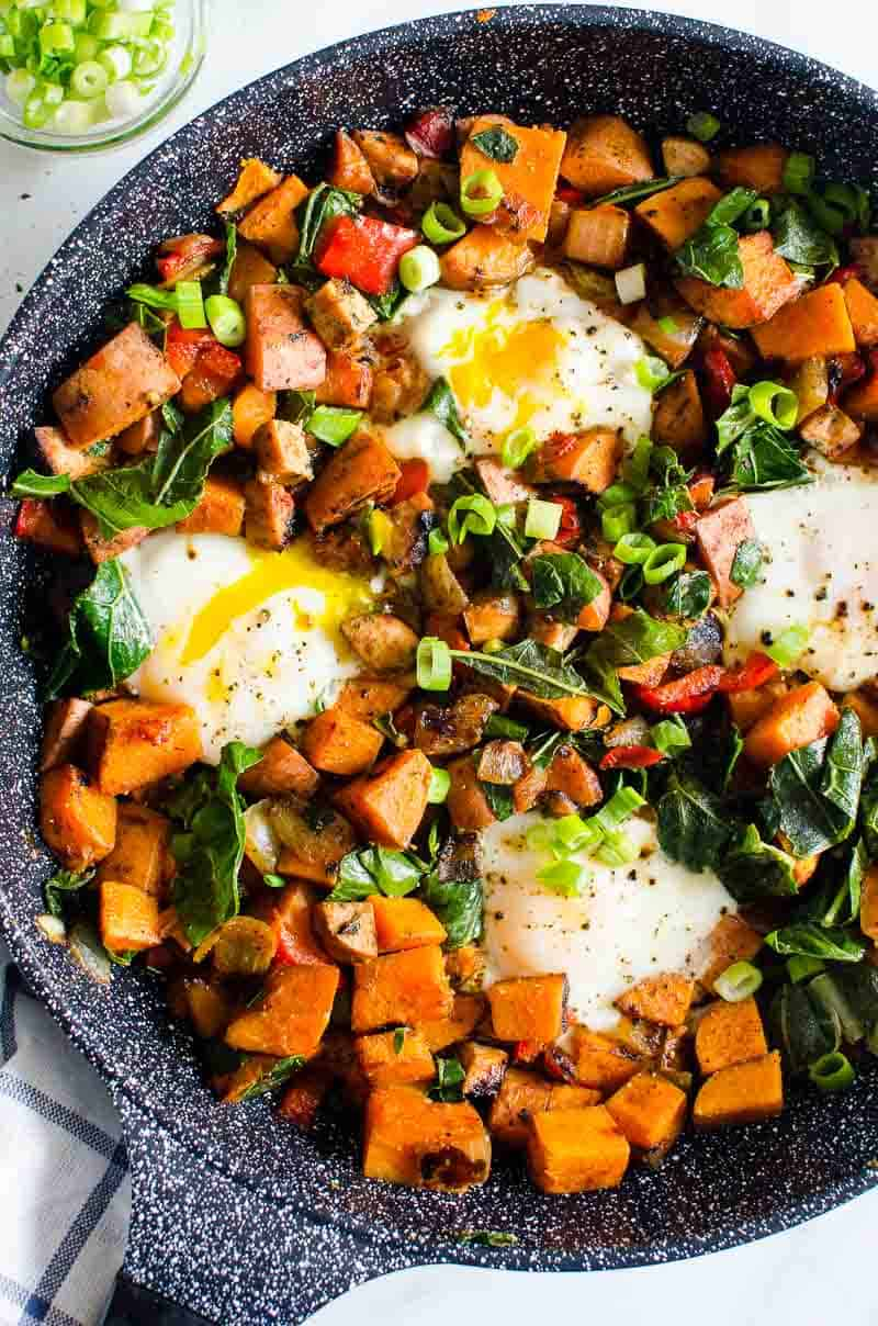 Sweet Potato Hash in a skillet