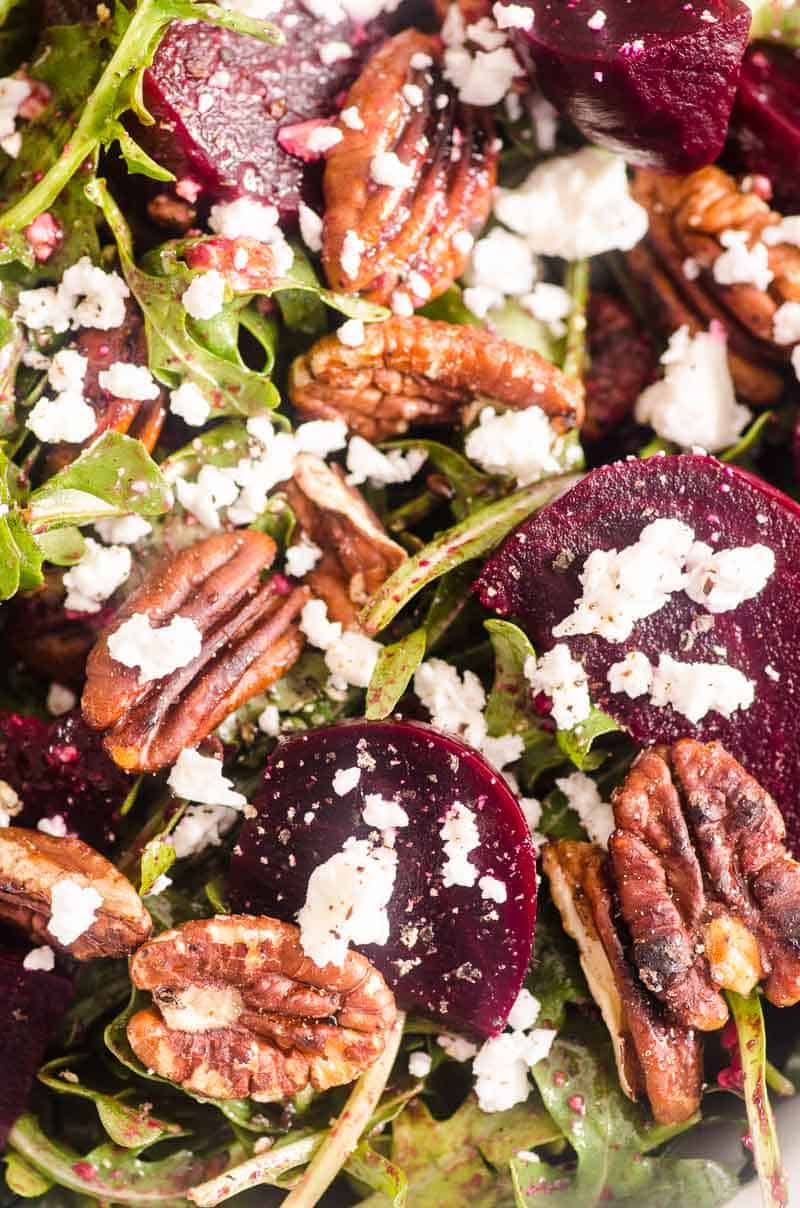 beet salad garnished with crumbled feta
