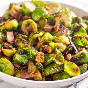 Sauteed Brussels Sprouts with Bacon and Pecans