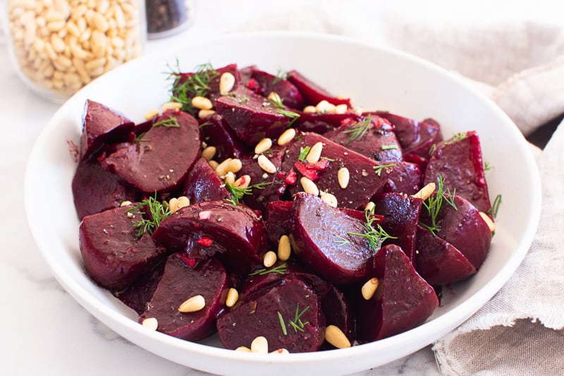 Instant Pot Beets with pine nuts and dill