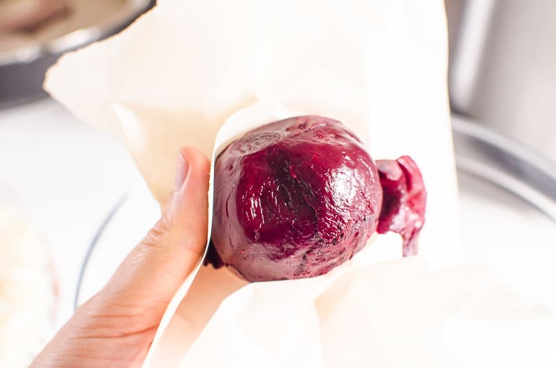 peeling beets with parchment paper