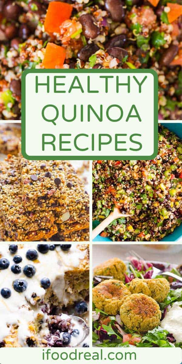 photo collage of healthy quinoa recipes