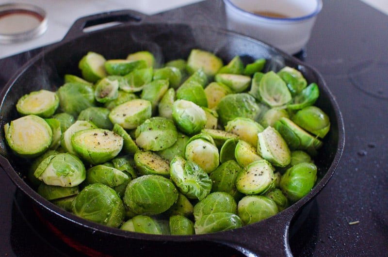 sauteing brussels sprouts in a cast iron skillet
