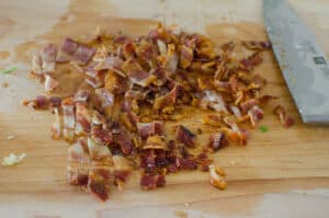diced bacon on a cutting board