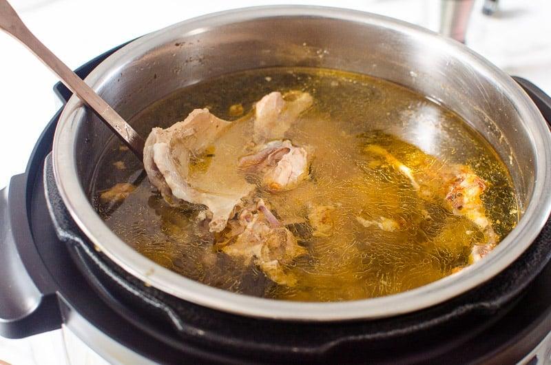 turkey bone broth cooked in a pressure cooker