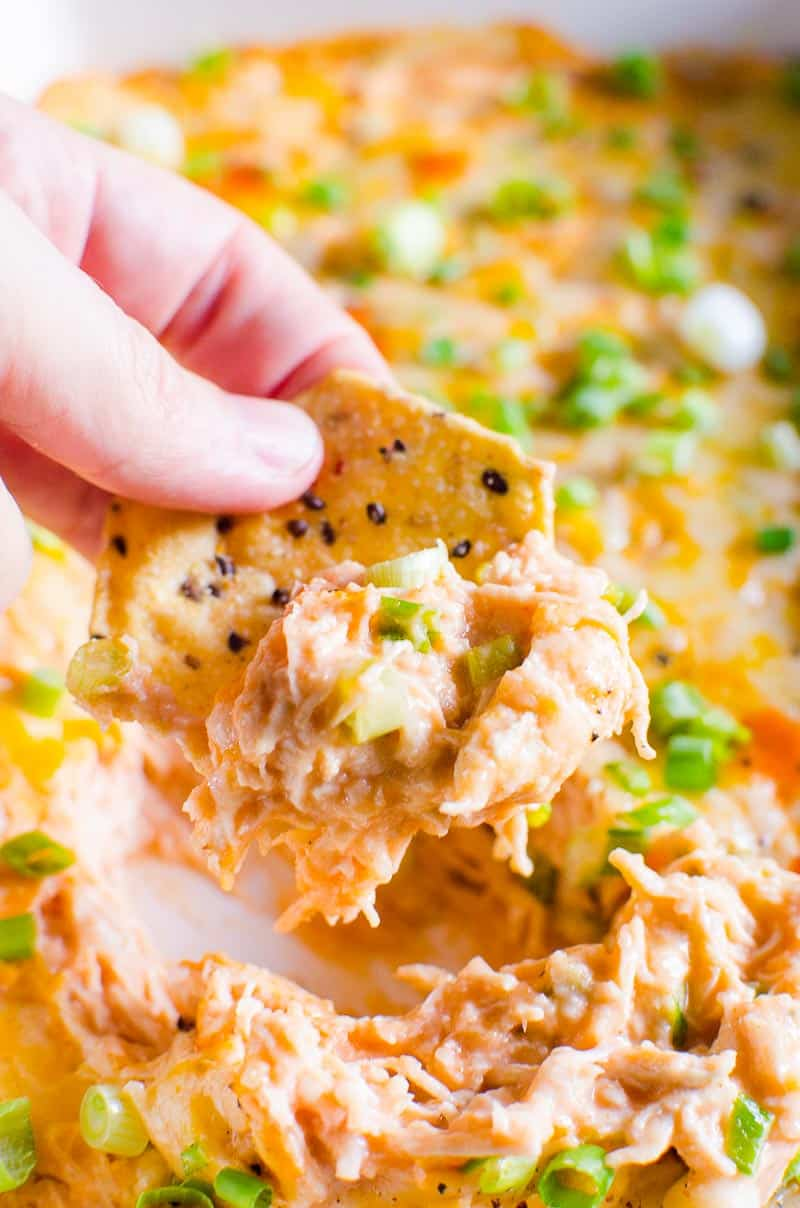 Healthy Buffalo Chicken Dip scooped with tortilla chip