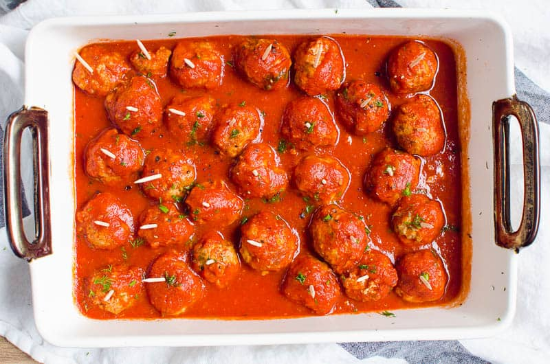 instant pot meatballs in a baking dish
