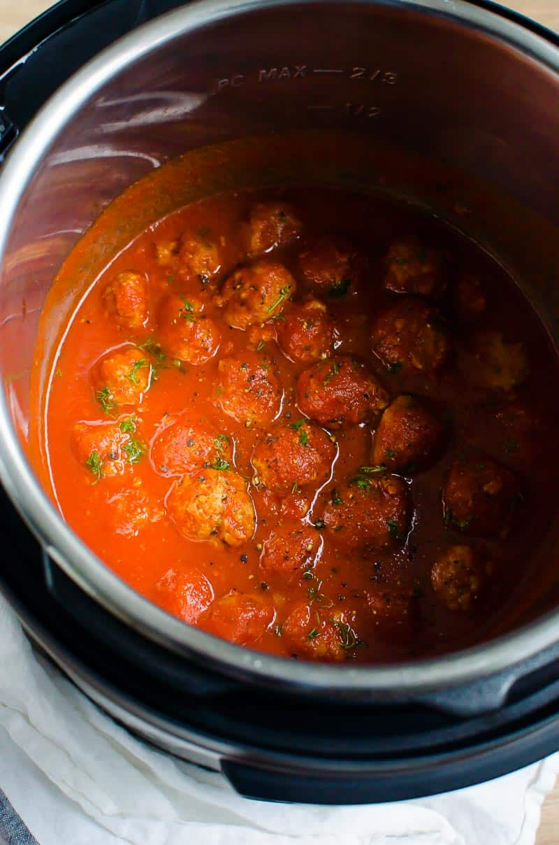 Instant Pot Meatballs garnished with parsley