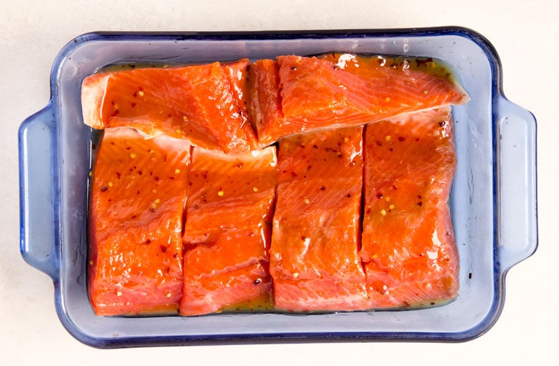 marinated salmon in thai sweet chili sauce