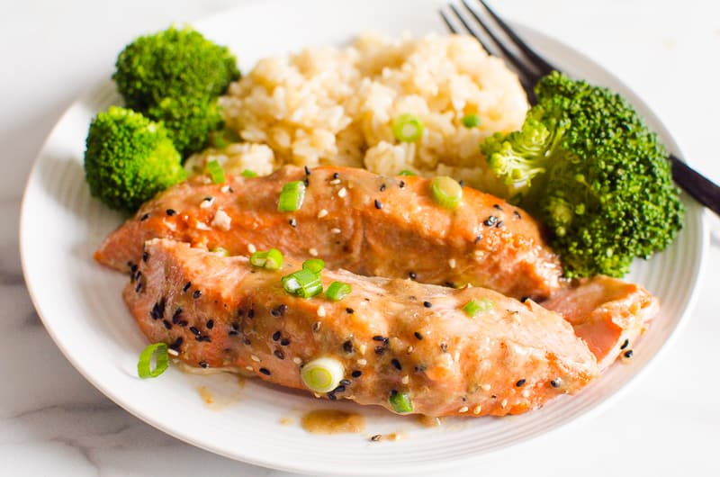 Teriyaki Salmon with brown rice and broccoli