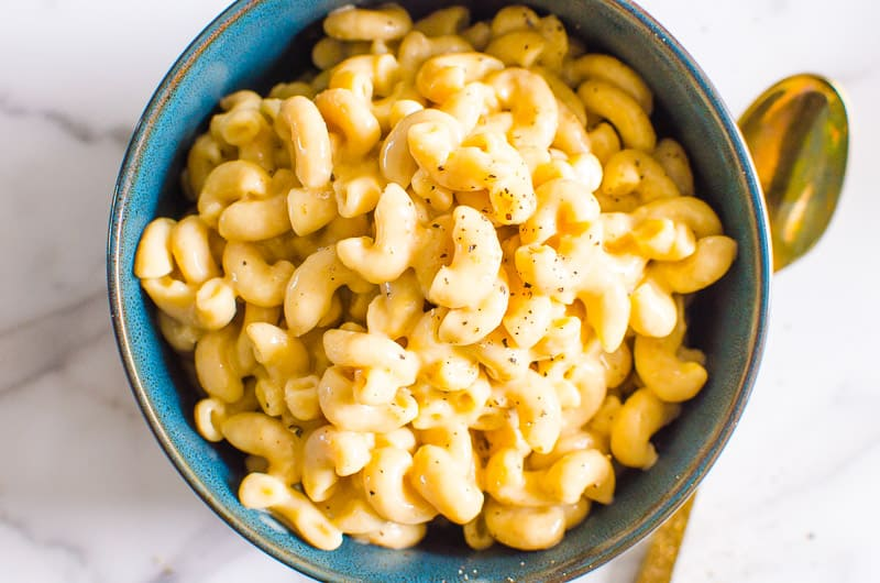 Instant Pot Mac and Cheese garnished with black pepper
