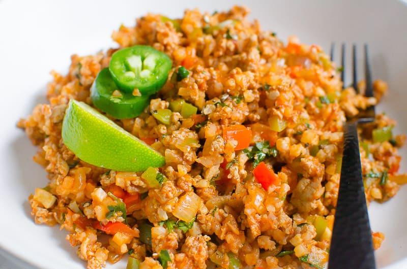 mexican cauliflower rice in a bowl