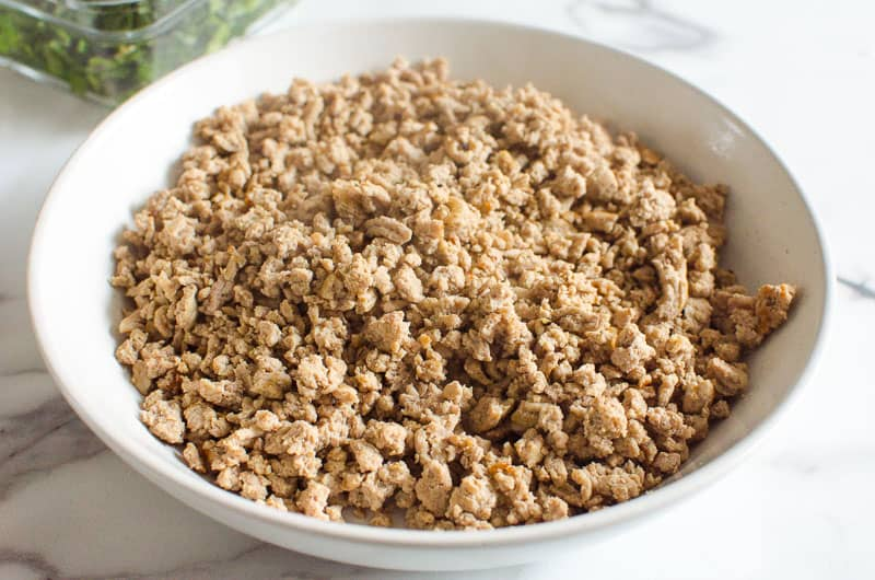 cooked ground turkey in white bowl