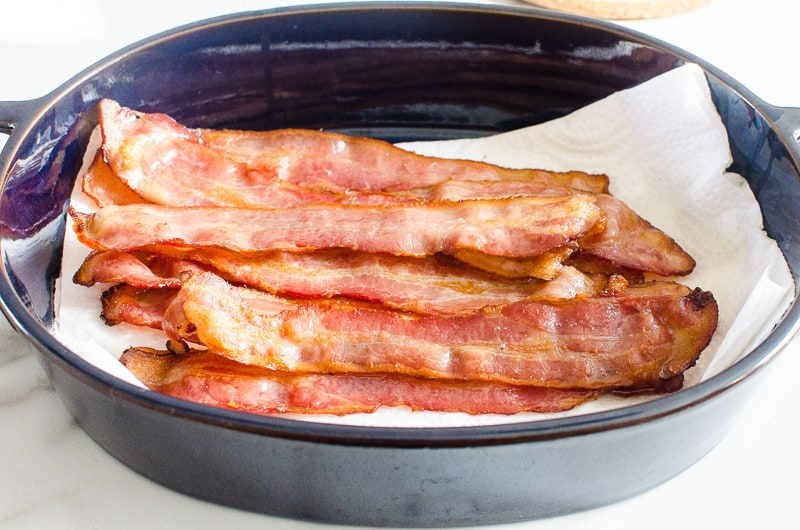 cooked bacon in a dish