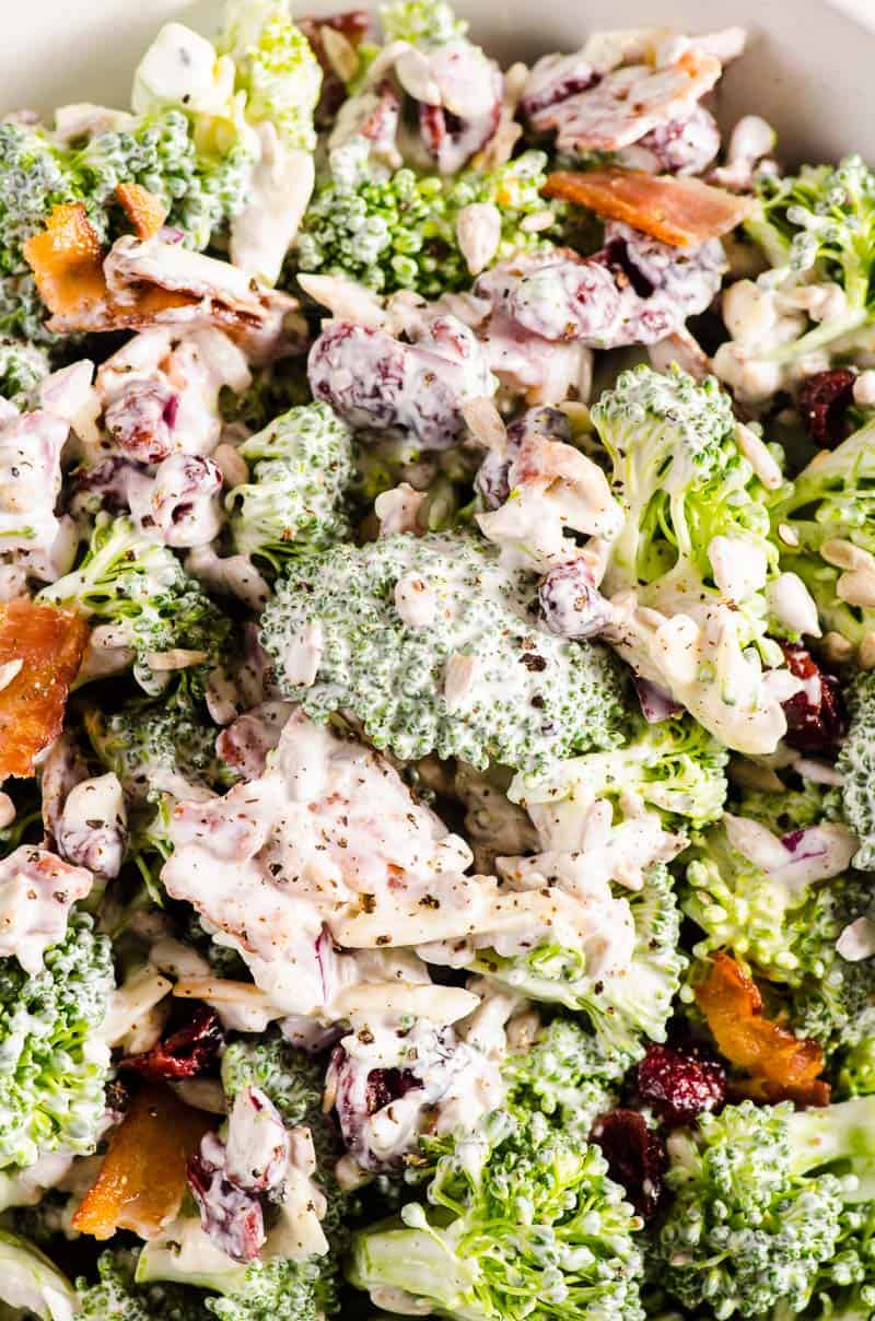 closeup of broccoli salad