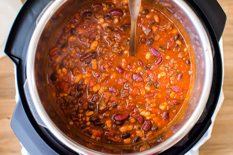 Instant Pot Chili in the pot with ladle