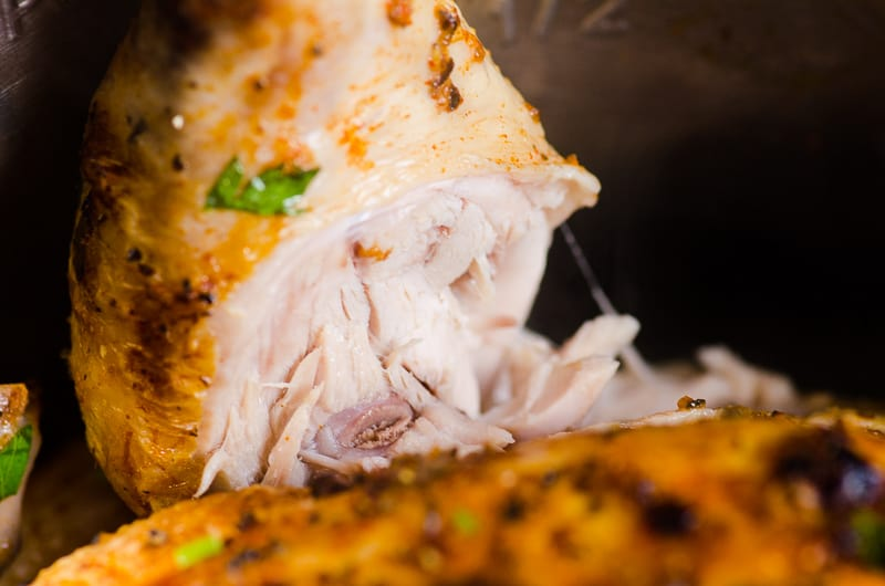 Pulling drumstick from Juicy Instant Pot Whole Chicken