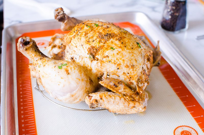 Instant Pot Whole Chicken on a baking sheet to broil for crispy skin
